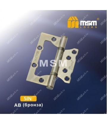 Петля MSM универсальная 120 мм (5IN) без врезки Бронза (AB)