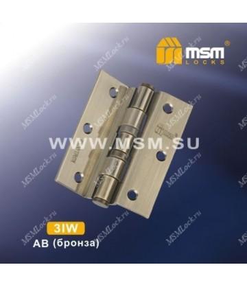 Петля MSM универсальная 88 мм без колпачка (4IW) для полунакладных дверей Бронза (AB)