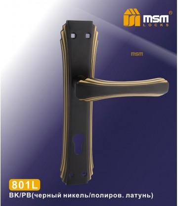 Ручка на планке MSM 801L Черный / Полированное латунь (BK/PB)