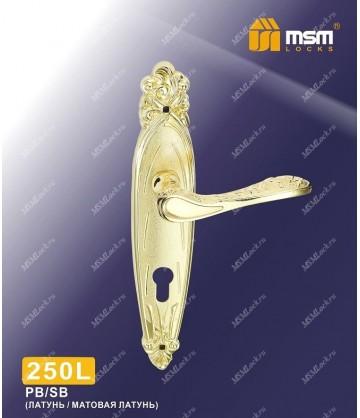 Ручка на планке MSM 250 L Полированная латунь / Матовая латунь (PB/SB)