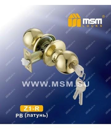 Ручка MSM защелка (шариковая) Z1 Полированная латунь (PB) Входная (R)