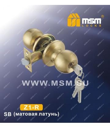 Ручка MSM защелка (шариковая) Z1 Матовая латунь (SB) Входная (R)