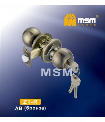 Ручка MSM защелка (шариковая) Z1 Бронза (AB) Входная (R)