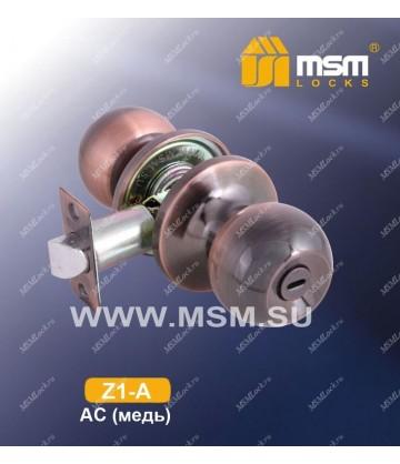 Ручка MSM защелка (шариковая) Z1 Медь (AC) Сантехническая (A)