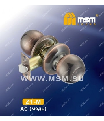 Ручка MSM защелка (шариковая) Z1 Медь (AC) Межкомнатная (M)