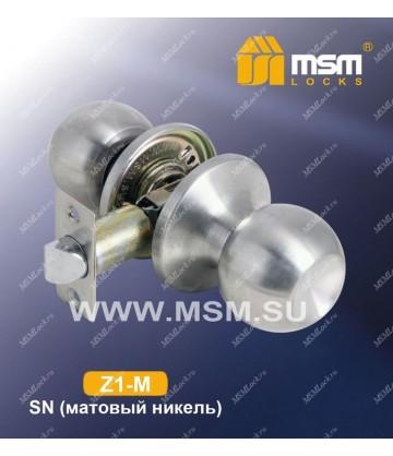 Ручка MSM защелка (шариковая) Z1 Матовый никель (SN) Межкомнатная (M)